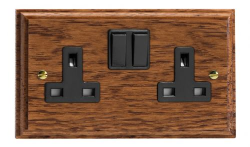 Varilight XK5MOB Kilnwood Medium Oak 2 Gang Double 13A Switched Plug Socket